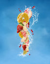 Fresh fruits with water splashes composition different kinds of and Royalty Free Stock Photos
