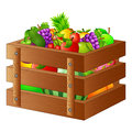 Fresh fruits in a wooden box Royalty Free Stock Photo