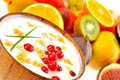 Fresh fruits and yogurt Royalty Free Stock Photo