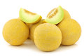 Fresh galia melons and some cut pieces Royalty Free Stock Photo