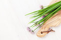Fresh garden spring onion on white table Royalty Free Stock Photo