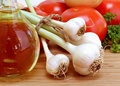 Fresh Garlic with stems Royalty Free Stock Photos
