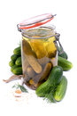 Fresh gherkin and mustard seed Royalty Free Stock Photo