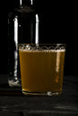 Fresh ginger beer dark photo on black background closeup Royalty Free Stock Photo