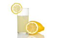 Fresh glass of lemonade on white background Stock Image
