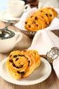 Fresh gluten free sweet swirl buns with raisins Royalty Free Stock Photo