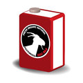 Fresh goat milk red box with a silhouette and the text organic natural pasteurized written on the box Royalty Free Stock Images