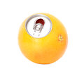 Fresh grapefruit, orange juice in a tin Royalty Free Stock Photo