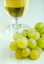 Fresh grapes and glass of white wine Royalty Free Stock Images