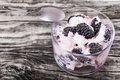 Fresh greek colored stains yogurt with berries in glass cup Royalty Free Stock Photo