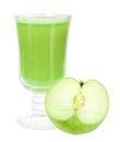 Fresh green-apple juice and apple Stock Image