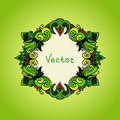 Fresh green background with floral frame. Summer Royalty Free Stock Photo