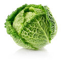 Fresh green cabbage fruit isolated on white Royalty Free Stock Photo