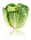 Fresh green cabbage fruit isolated on white Stock Photography