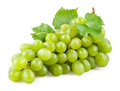 Fresh green grapes with leaves isolated on white background Royalty Free Stock Image