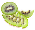 Fresh green kiwi fruits Stock Photography