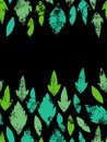 Fresh green leaves traces seamless border, vector Royalty Free Stock Photo