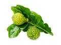 Fresh green lime kafir isolated over white Stock Photo