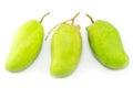 Fresh green mango rhino mango thailand isolated on white Royalty Free Stock Photos