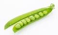 Fresh green pea pod closeup, isolated on white Royalty Free Stock Photo
