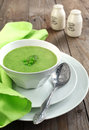 Fresh green pea soup selective focus focus on the pea in the middle of the soup Royalty Free Stock Photos