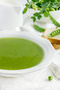 Fresh green pea soup Royalty Free Stock Photo
