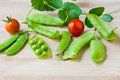 Fresh green peas and tomatoes sweet pea pod from garden selective focus shallow dof Royalty Free Stock Images