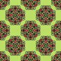 Fresh green seamless pattern in ethnic style Royalty Free Stock Images