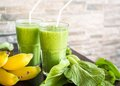 Fresh Green Smoothie With Bana...