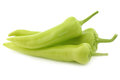 Fresh green sweet peppers banana peppers on a white background Stock Images