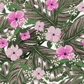 Fresh green tropical leaves, with flower background. Floral seamless pattern in vector. Greenary Tropical illustration.Paradise