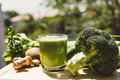 Fresh green vegetable juice refreshing and fruit Stock Photos