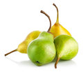 Fresh green and yellow pears on white background Royalty Free Stock Photos