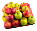 Fresh green, yellow and red apples on a tray. Royalty Free Stock Photo