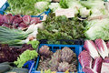 Fresh greens at open street vegetable market Royalty Free Stock Images