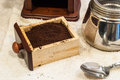 Fresh ground coffee freshly in basket ready to make espresso Royalty Free Stock Photos