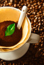 Fresh ground coffee in a portable filter Royalty Free Stock Images