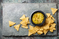 Fresh guacamole dip with nachos chips Royalty Free Stock Photo