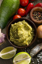 Fresh guacamole sauce and ingredients Royalty Free Stock Photo