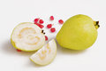 Fresh guava fruit guava slices over white background Royalty Free Stock Photo