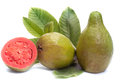 Fresh guava fruit with leaves on white background Royalty Free Stock Image