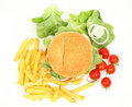 Fresh hamburger with fries Stock Image