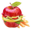 Fresh healthy apple burger or sandwich Royalty Free Stock Photo