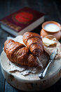 Fresh healthy croissant for breakfast photo of Royalty Free Stock Photography