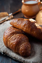 Fresh healthy croissant for breakfast photo of Royalty Free Stock Image