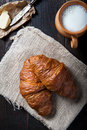 Fresh healthy croissant for breakfast photo of Royalty Free Stock Photo