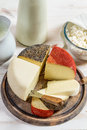 Fresh and healthy dairy products on old wooden table Stock Photos