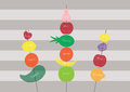Fresh healthy fruits on stripe backgrounds ,Healthy lifestyle,Vector Royalty Free Stock Photo