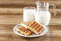 Fresh healthy milk and cookies Stock Photos