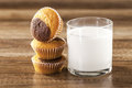 Fresh healthy milk and muffins Royalty Free Stock Photography